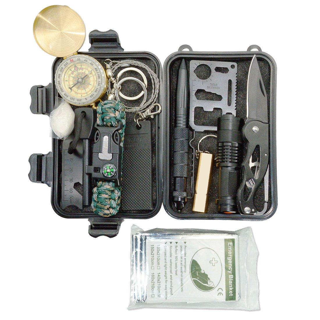 LeMotech Kit de supervivencia de emergencia 13 en 1, kit de ...