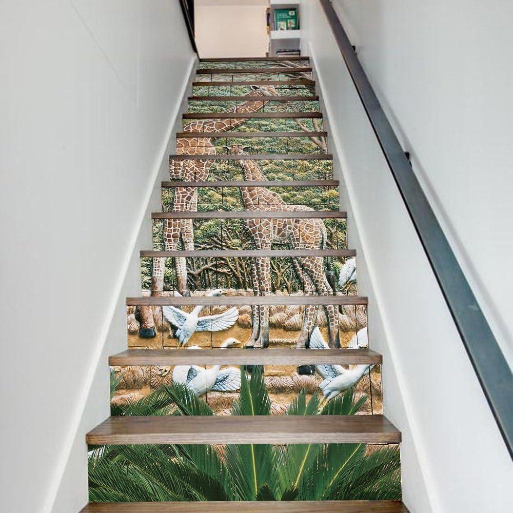 Etiquetas engomadas de la baldosa 3D Tamaño de las etiquetas engomadas de la escalera de la habitación de los niños de la jirafa Animal (100 * 18cm * 13pcs): Amazon.es: Hogar