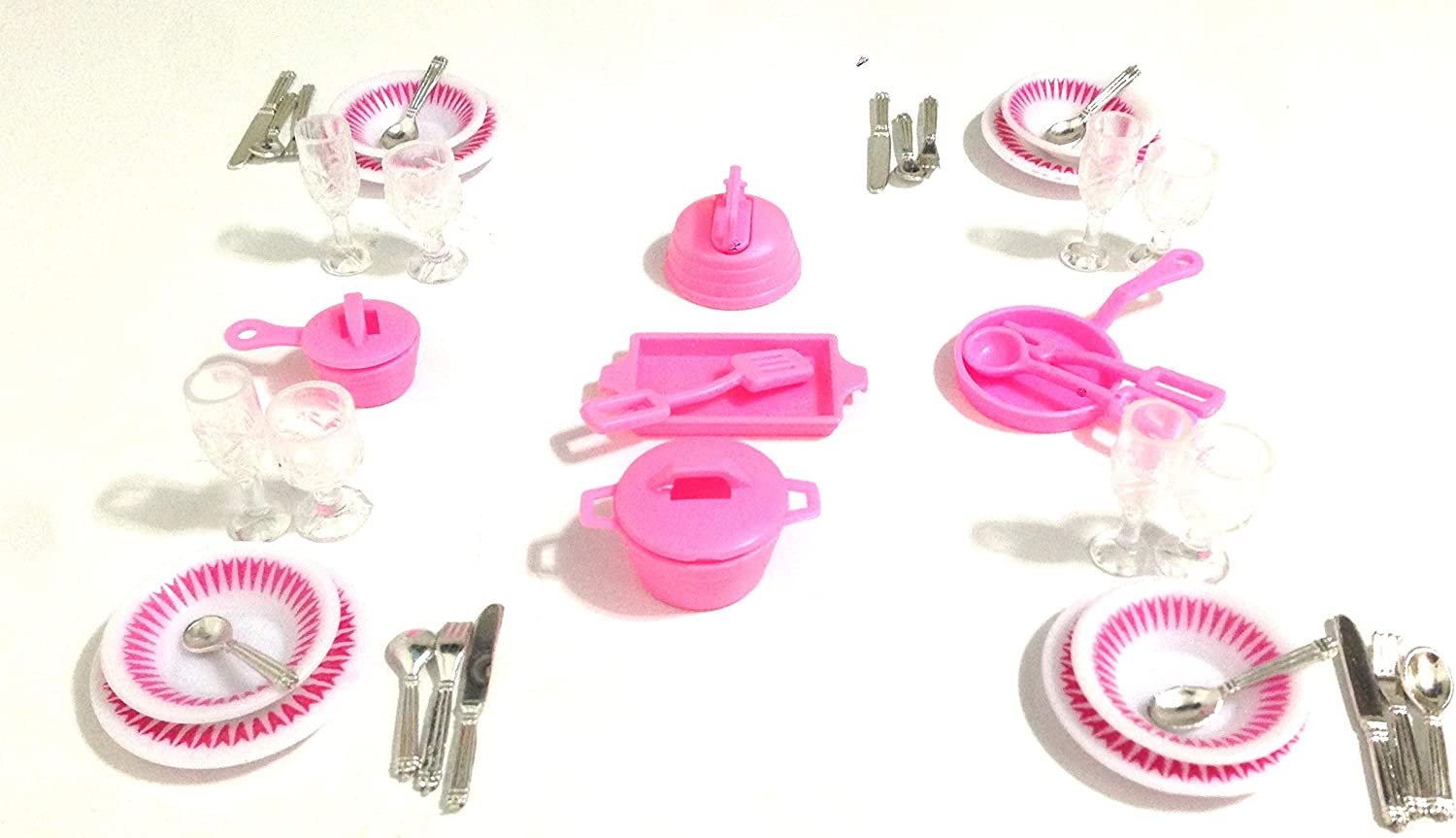 1Set 1//12 Dollhouse Miniature Plastic Dishes Plates Tableware Decorator Pink TO