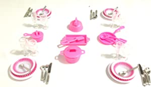 Gloria Dollhouse Furniture- Accessories Plate Glasses Spoon Set