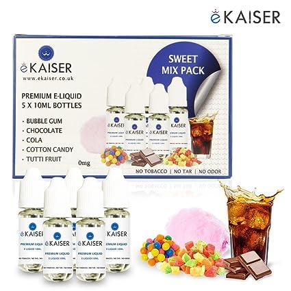 Ekaiser 5 elíquidos de 10 ml Paquete dulce | Goma de marcar | Tutti-Fruiti | Algodón de azúcar | Chocolate | Cola | Mezcla de VG & PG | Hecho para ...