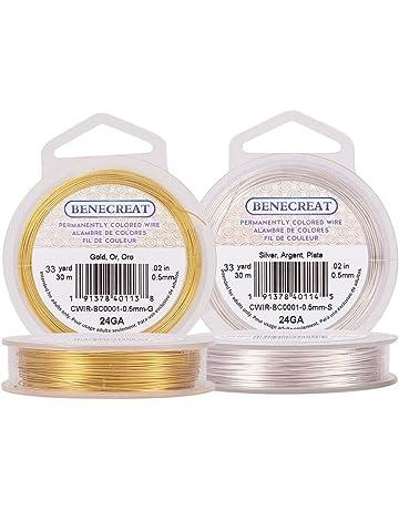 BENECREAT Alambre de Cobre Cable Metal para Manualidad Resistente Plateado Calibre 24,Dorado y Plateado