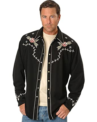 df2d794a4b3 Scully Men s Roses And Cowboy Skeleton Embroidered Retro Western Shirt Black  Small