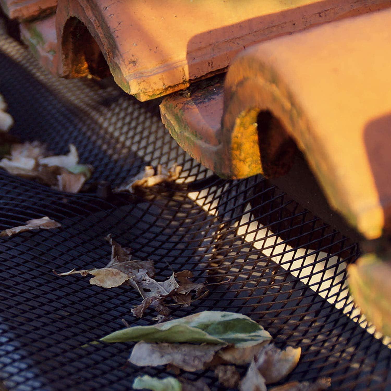Grille de protection en plastique pour goutti/ère de 6 m 12 m ou 24 m les feuilles et les d/ébris Flexible et super noir 12m Protection contre les d/ébris