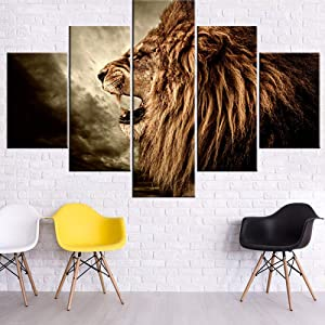 Animal Picture for Living Room Roaring Lion Painting African Safari Lioness Wall Art Stormy Scenery Artwork Multi Panel Prints on Canvas Modern Home Decor Giclee Framed Ready to Hang Gift(60''Wx40''H)