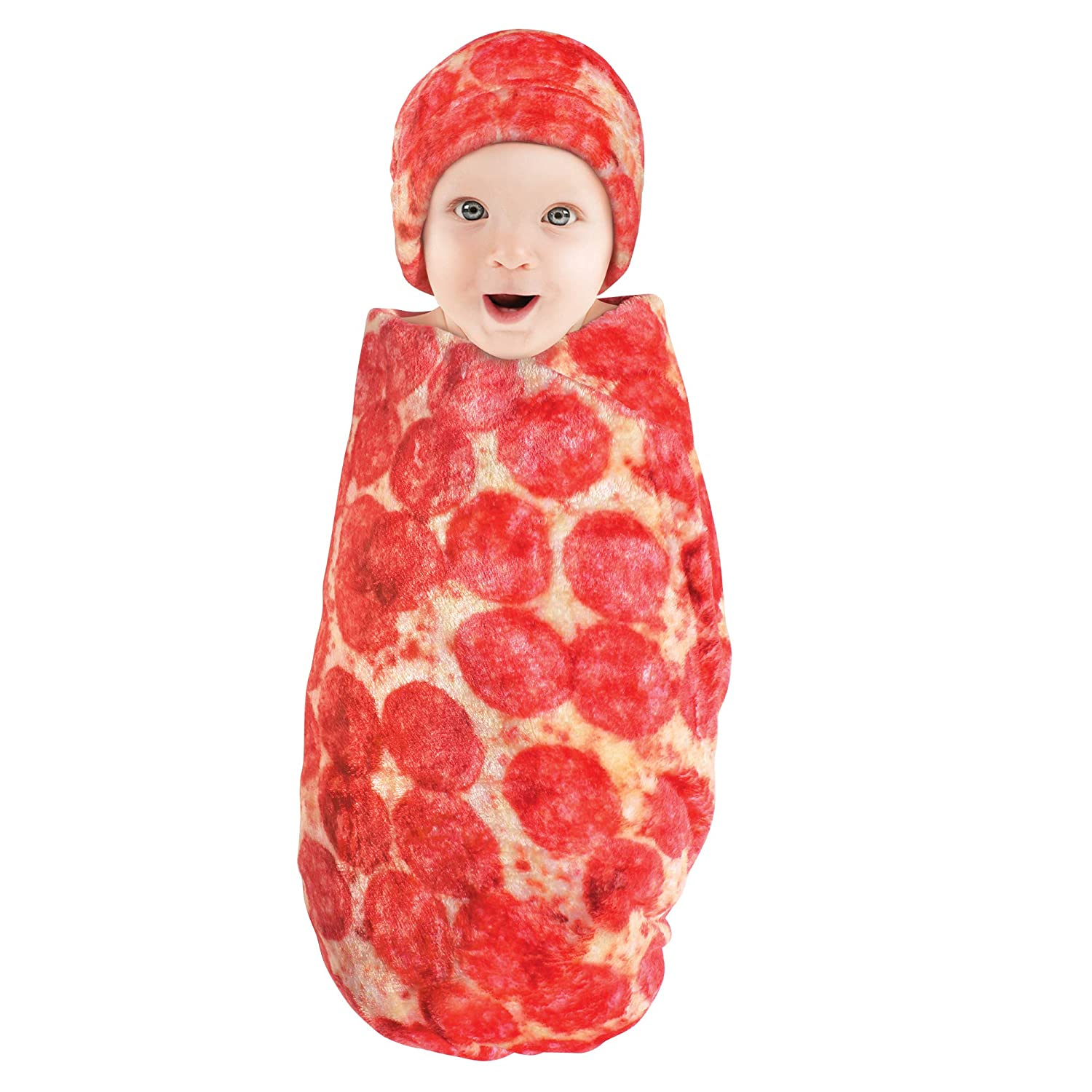 Hudson Baby Unisex Baby Plush Food Burrito or Pizza Blanket and Cap, Pepperoni Pizza, 0-12 Months