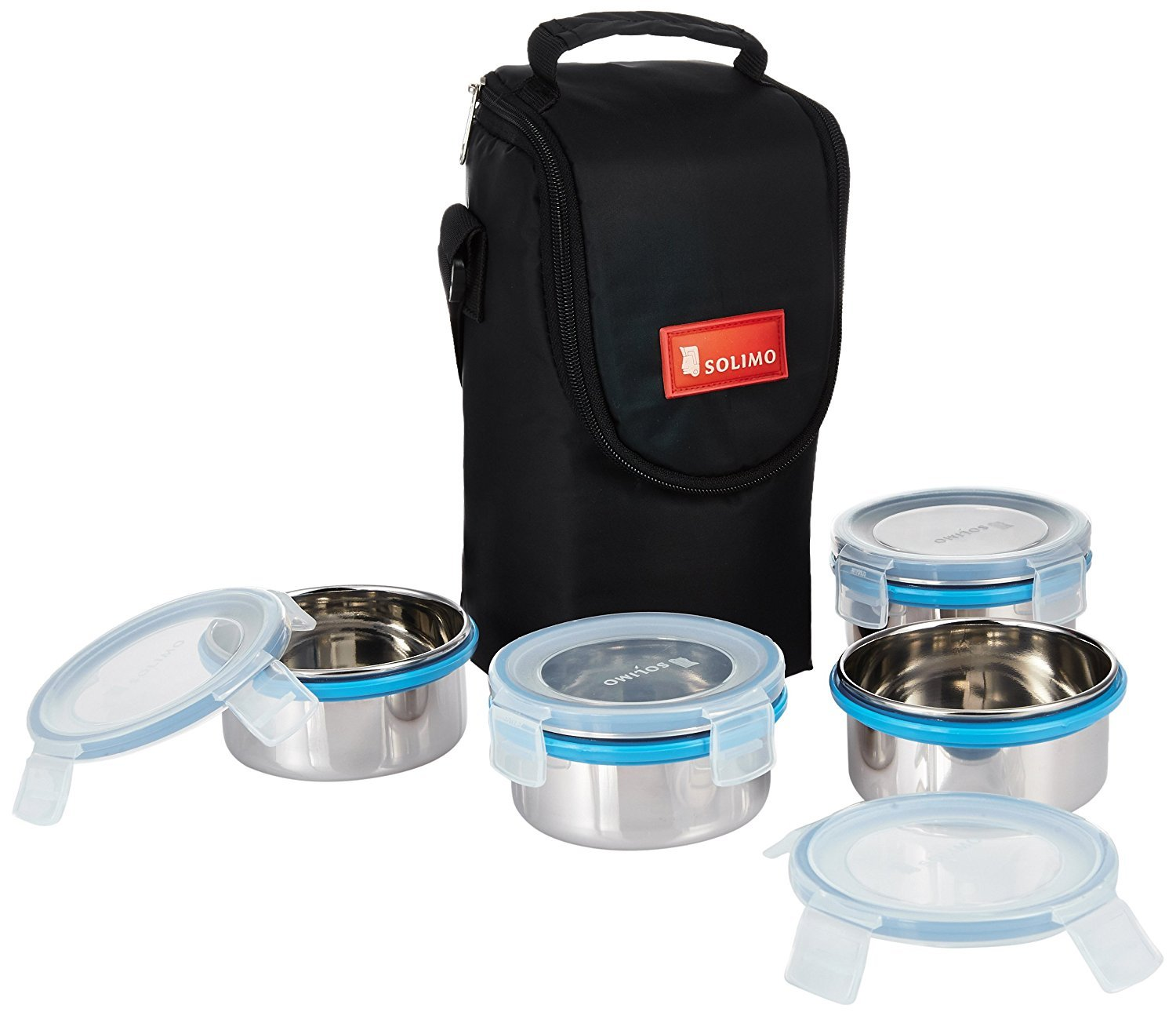 Solimo Stainless Steel Lunch Box Set with Bag, 300ml, 11cm Diameter, 4-Pieces, Clear Lid