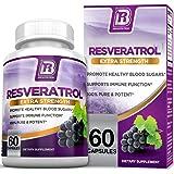 BRI Resveratrol - 1200mg Maximum Strength Natural Antioxidant Supplement for Longevity; Premium, Ultra Pure Veggie Caps Promote Healthy Heart and Brain Function and Immune System Health (60 Capsules)