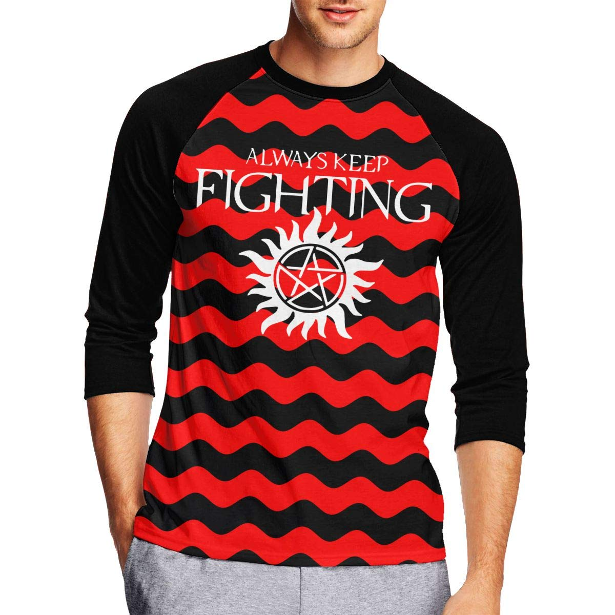 Always Keep Fighting Supernatural Mens Fashion Adult Long-Sleeved T-Shirts