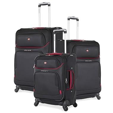 SwissGear Expandable Spinner Wheel Black Suitcase Set - Softshell & Lightweight