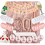 Sllyfo 30th Birthday Decorations Party Supplies Kit - 30th Birthday Gifts for womens,30th Cake Topper|Banner|sash|Rose…