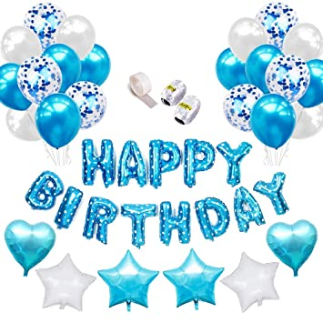 Happy Birthday Images For Men.Birthday Decorations For Men Boys Blue Balloons Party Supplies With Happy Birthday Banner Helium