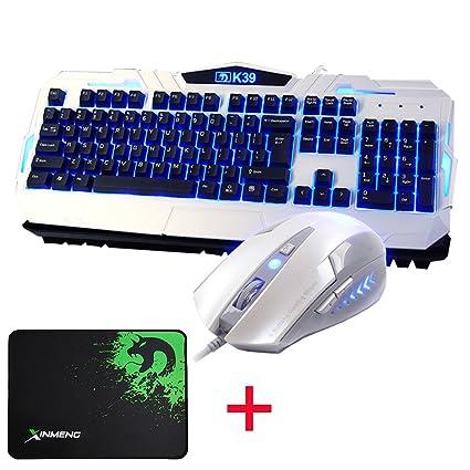 UrChoiceLtd® Teclado Mouse Juegos, Tecnología K39 Mechanical Feeling USB Teclado Con Cable Azul LED Retroiluminado ...