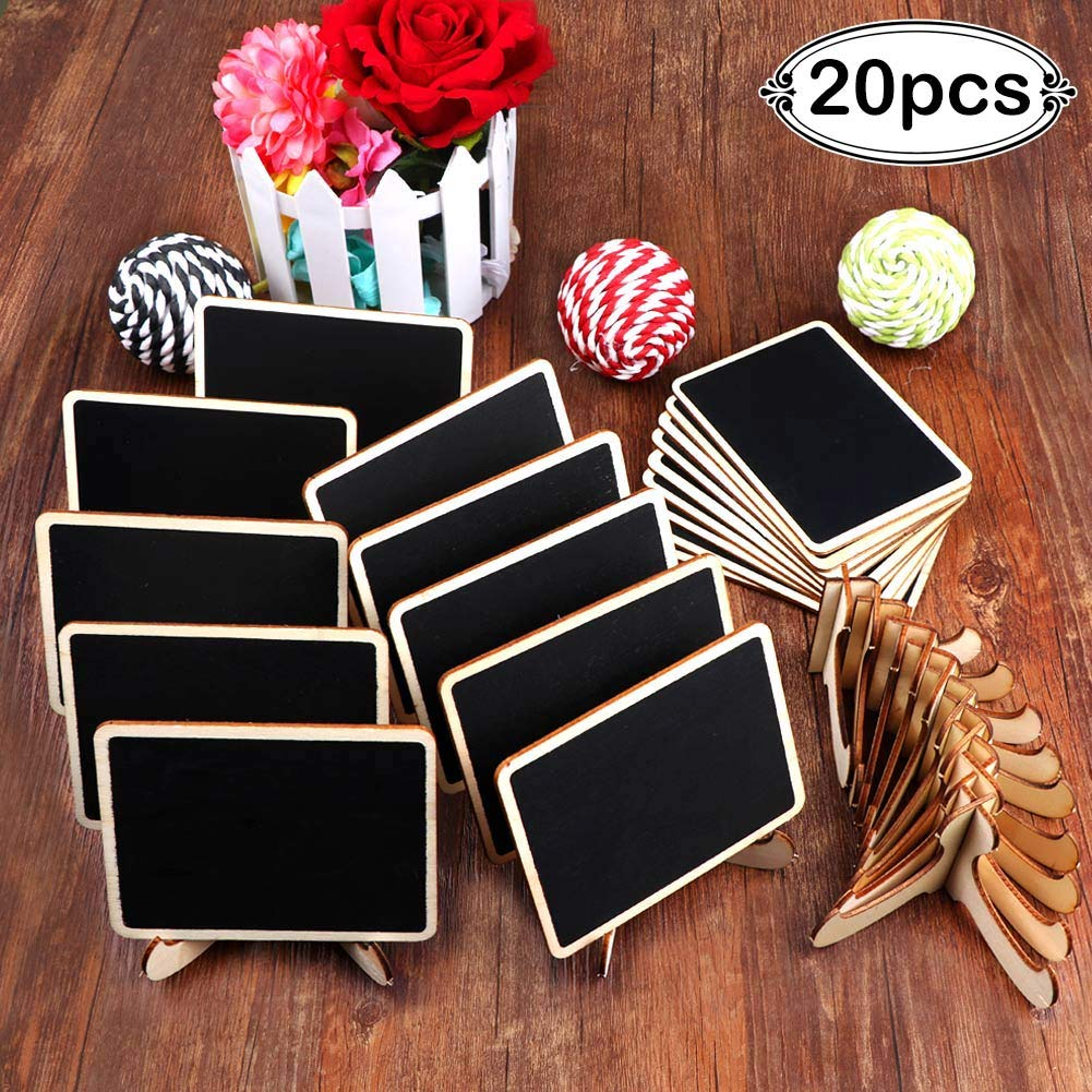 AerWo 20 Pack Mini Chalkboards Place Cards with Easel Stand, Wooden Rectangle Chalkboard Signs for Wedding Table Numbers, Food Sighs, Birthday Party and Special Event Decoration