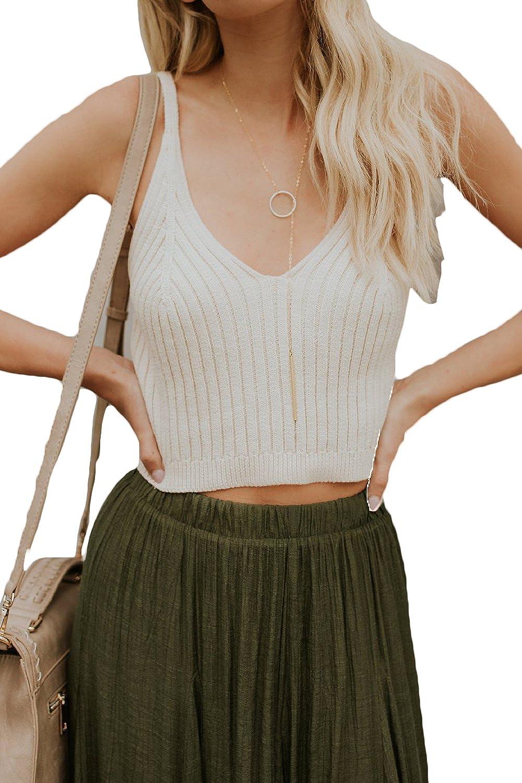 Jumojufol Women Sleeveless Sweater Vests V-Neck Ribbed Knit Tank Crop Top