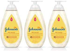 Johnson's Skin Nourishing Baby Wash With Shea & Cocoa Butter, Hypoallergenic & Tear Free Baby Wash, 16.9 fl. Oz (Pack of 3)