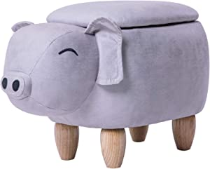 Merax Funfair Series, Upholstered Ride-on Storage Ottoman Footrest Stool Vivid Adorable Animal Shape (Grey Pig),
