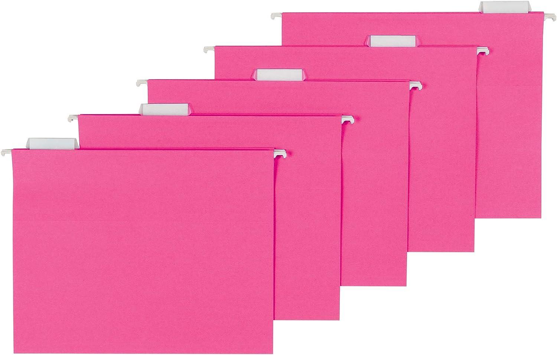 AmazonBasics Hanging Folders, Letter Size, Pink, 25-Pack