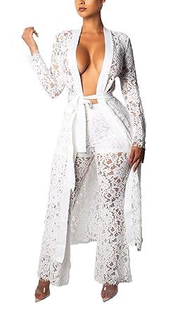 89ef671ef97b Tute da Ginnastica Donna Estivi Pizzo Cintura Inclusa Tuta Casa Moda  Pantalone Eleganti + Due Pezzi Cardigan Maniche Lunghe Casuale Donne  Scavare ...