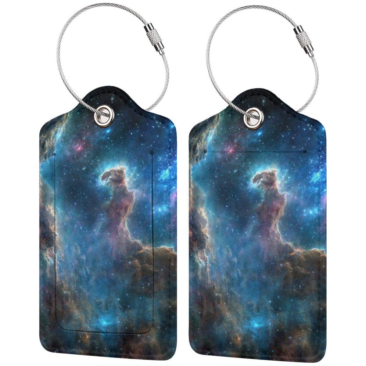 Space Nebula Spitzer Space Telescope Spaceship Travel Luggage Tags With Full Privacy Cover Leather Case And Stainless Steel Loop
