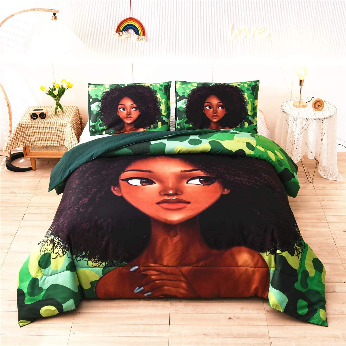African American Cool Girl Comforter Sets Queen Green, Queen Camouflage Black Woman Microfiber Bedding Quilted Sets for Ladies Girls