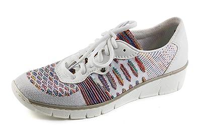 531b37bbb71b06 Rieker Damen Komfort Keil Sneaker Low Weiß Multi Gr. 37  Amazon.de ...
