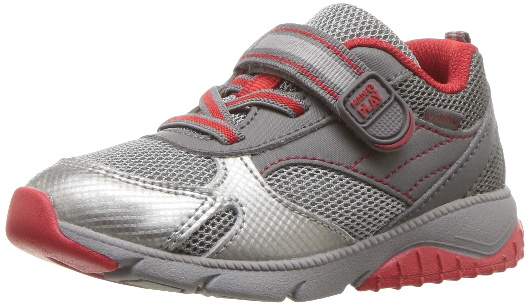 Stride Rite Baby Indy Boy's and Girl's Premium Leather Sneaker, Grey/red, 8.5 M US Toddler by Stride Rite