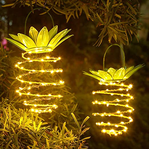 Macabolo - Juego de 2 lámparas LED solares con forma de piña, resistentes al agua, para jardín, patio, césped, balcón, camino: Amazon.es: Iluminación