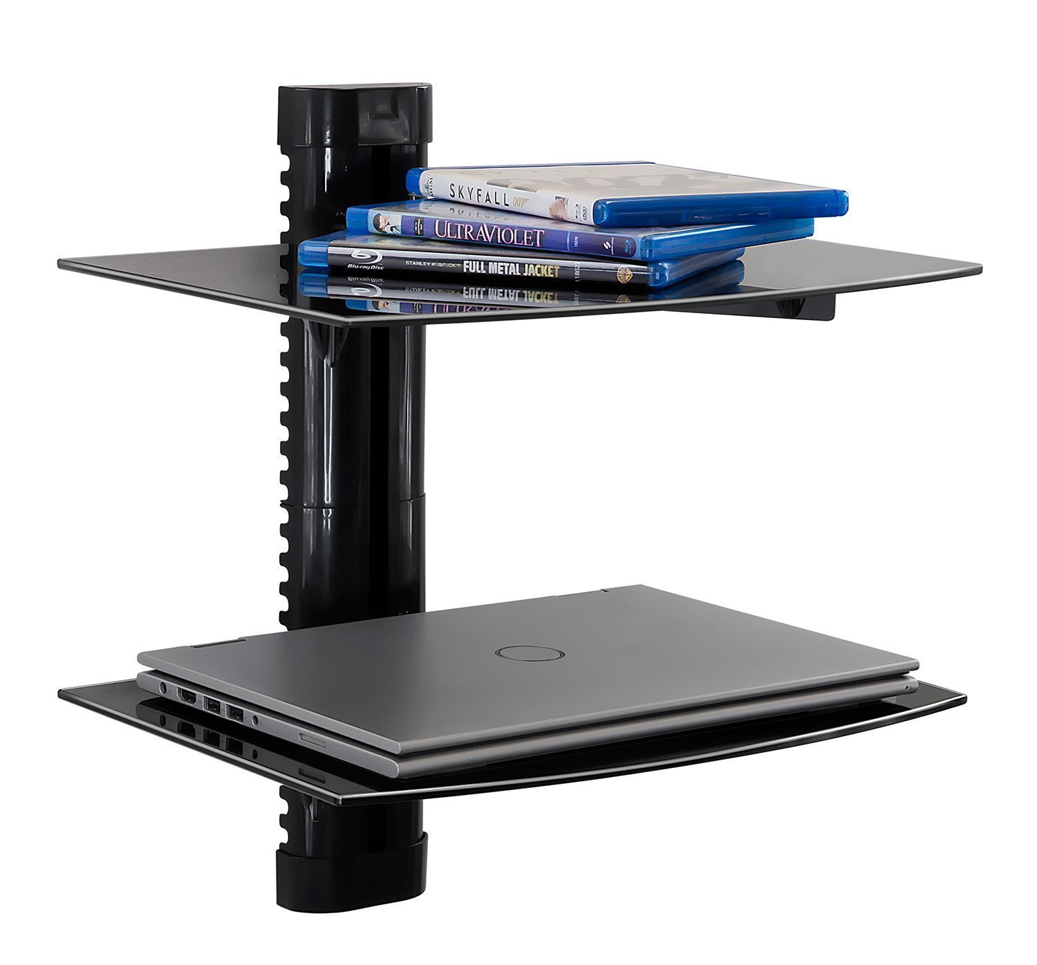 Pesters Floating Wall Mounted Shelf with Strengthened Tempered Glass, Wall Mount Bracket Component Shelf for DVD Players/Cable Boxes/Games Consoles/TV Accessories (US STOCK) (2 Shelf, Black) by Pesters
