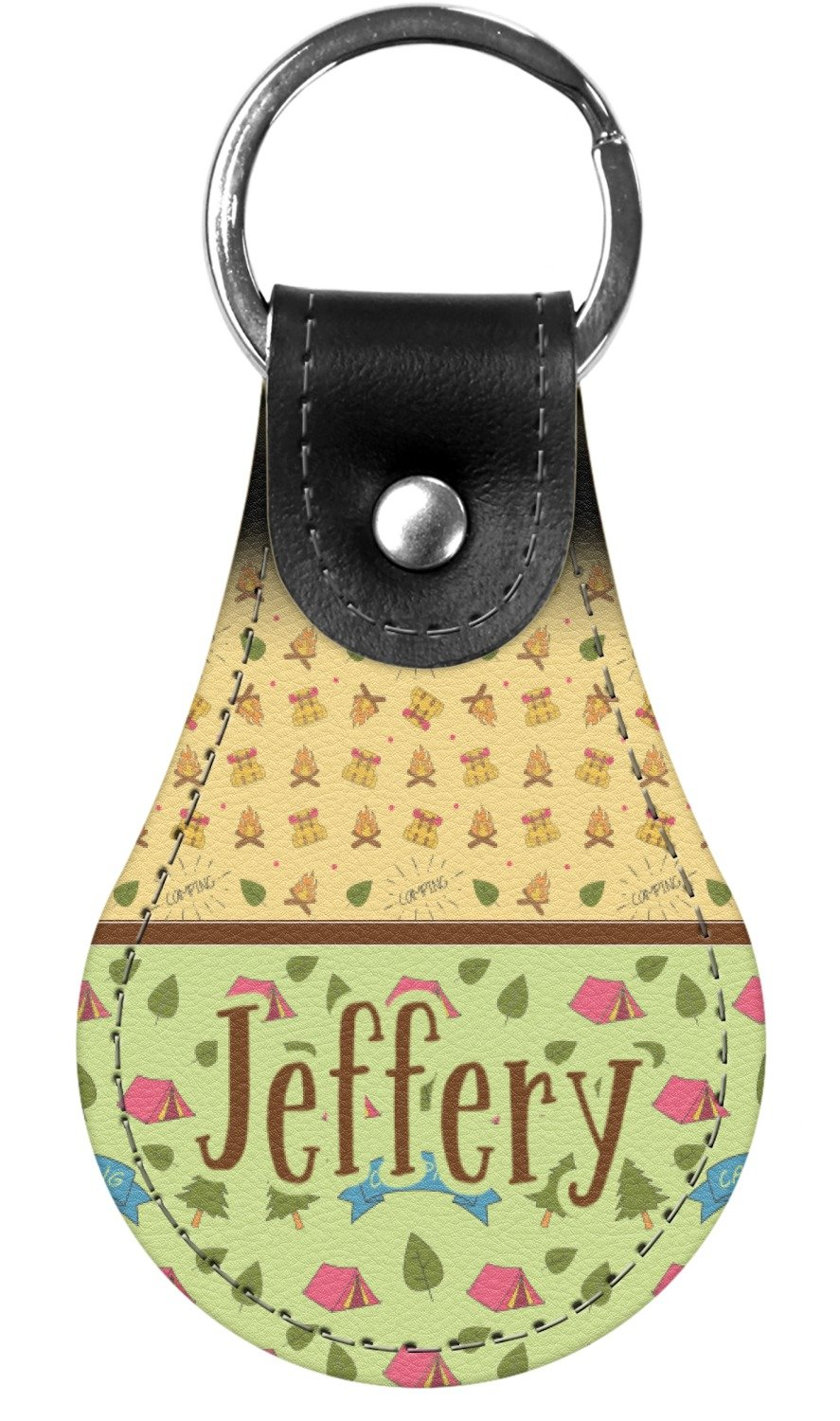 Summer Camping Genuine Leather Keychain (Personalized)