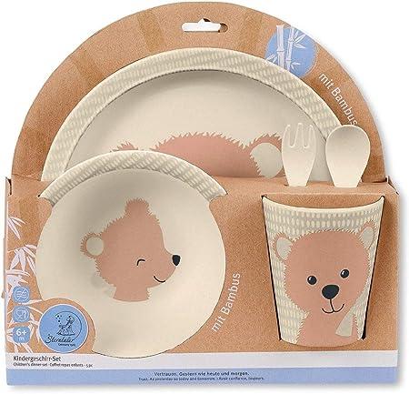 Adorable Vajilla infantil del Oso Baylee, Contiene plato, tazón, taza, cuchara y tenedor, Ideal para