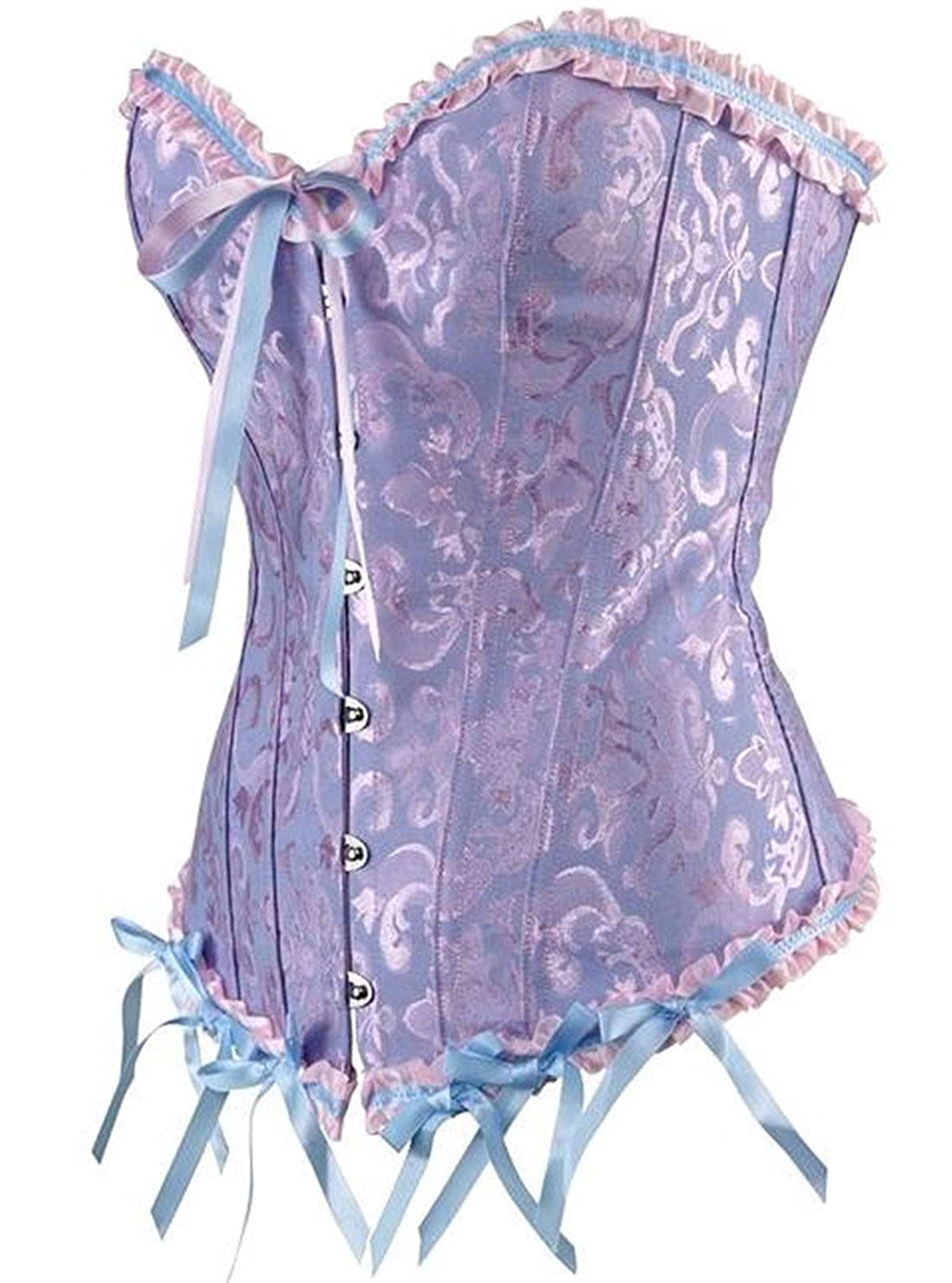 C2U Women Corset Plus Size Bustier Satin Overbust Lace Boned Top Waist Cincher Bodyshaper