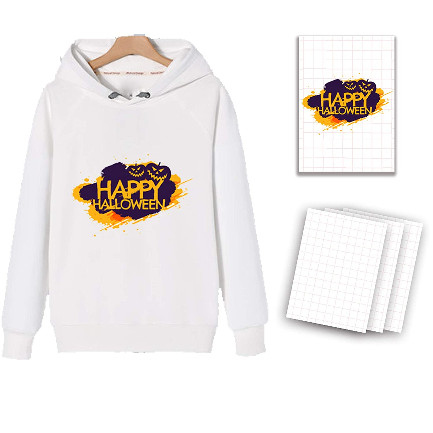 A4 T-Shirt Transfers Heat Transfer Sheets Paper for Inkjet Printers, for Light Fabric 8.27 X 11.7 (12 Sheets) Print Iron on Sheets) Print Iron on-Make Your Own Halloween Costumes BossTop