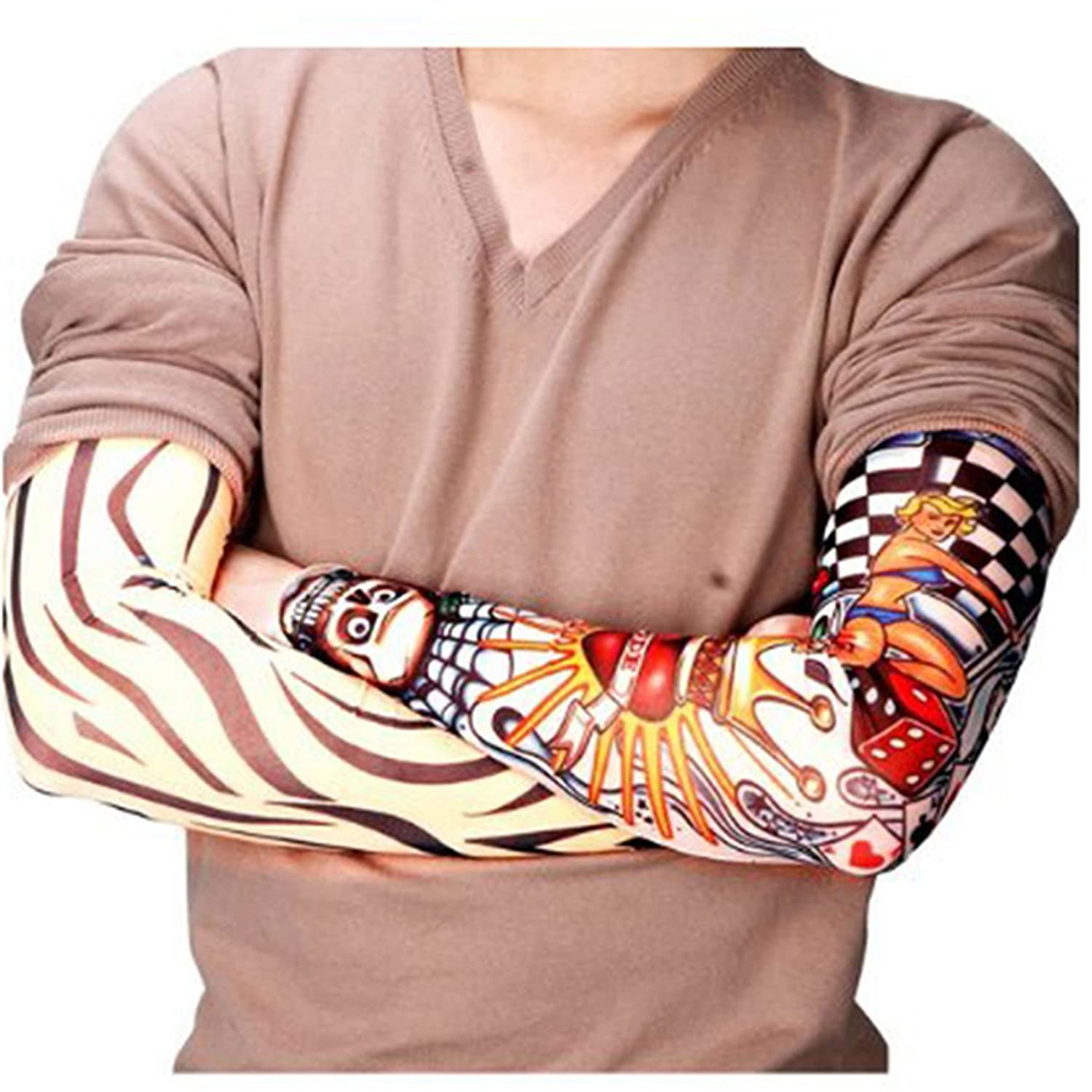 10 Pcs Tattoo Sleeves Assorted/Random Styles Halloween Party Costume Accessory