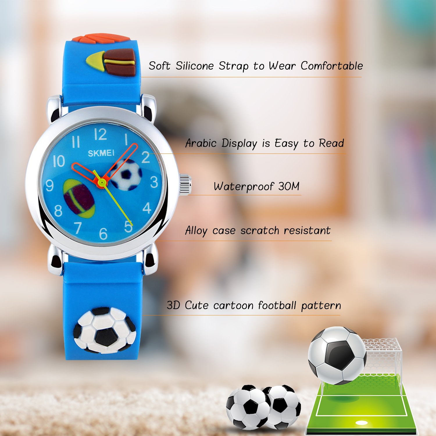 Amazon.com: Kids Analog Quartz Watch,Boys Girl Time Teacher Watches with PU Band Children 30M Waterproof Wristwatch (Blue): Watches