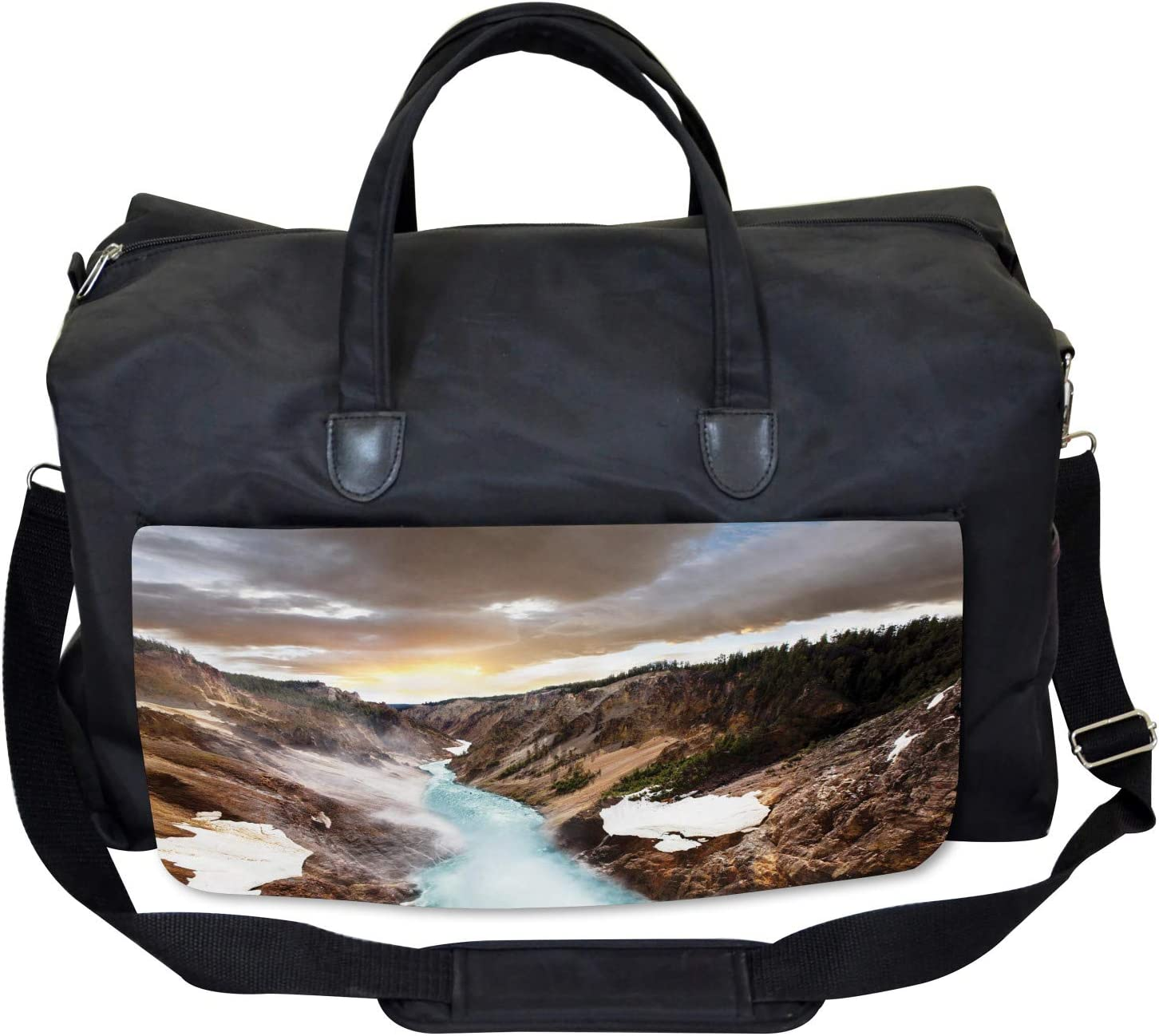 Ambesonne Yellowstone Gym Bag Canyon Forest View Large Weekender Carry-on
