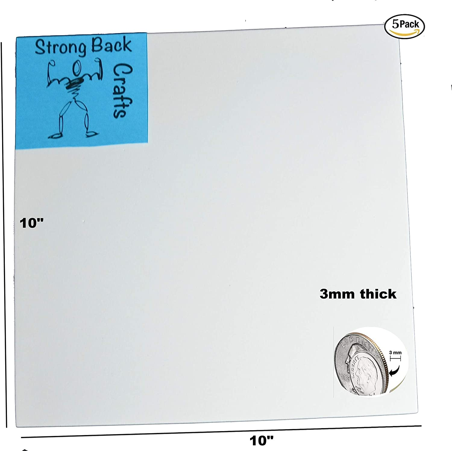 3mm by Strong Back Crafts- Self Adhesive Foam for Cosplay 5 Pack-White Self-Stick Adhesive 10 x 10 EVA High Density Foam Sheets 5 Pack Crafts /& Home