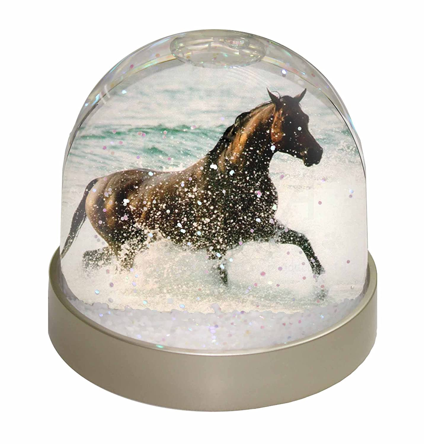 Advanta Black Horse in Sea Snow Dome Globe Waterball Gift, Multi-Colour, 9.2 x 9.2 x 8 cm Advanta Products AH-2GL