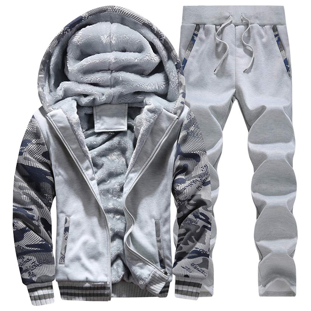 Musnow Camo Tracksuits Men Winter Fleece Hoodies Camo Jogging Suits Sweatsuit Warm Hooded Suits