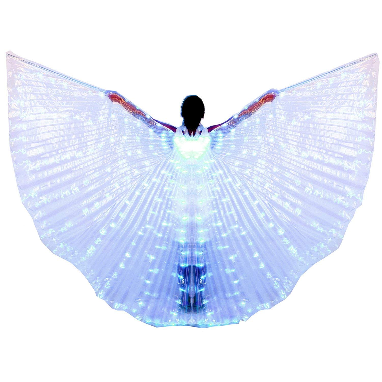 xiaoxiaoland εїз Belly Dance Wing with Rods-360 Degree Angel Wings with Portable Telescopic Sticks for Adults and Child,Blue by xiaoxiaoland