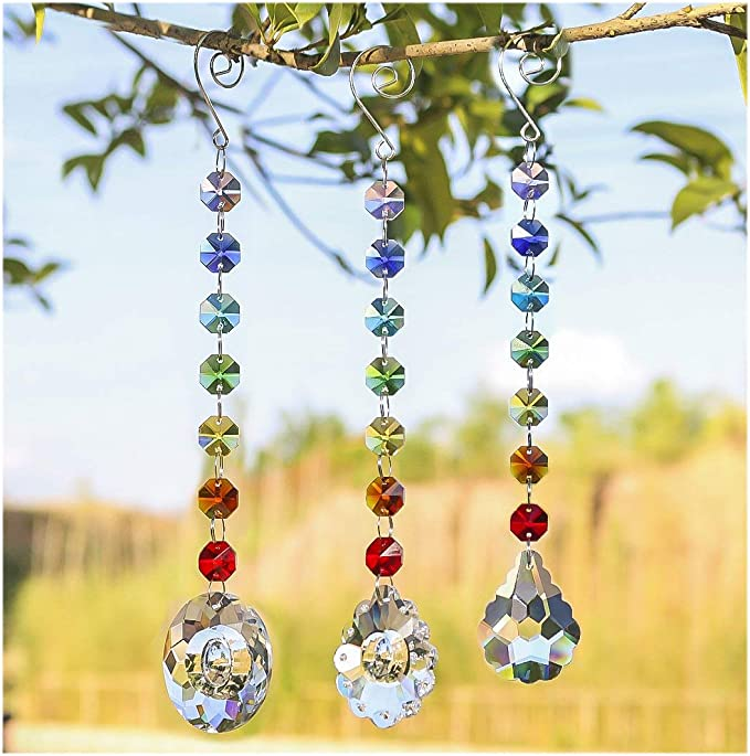 Sun Catcher Crystal Tree of Life Rainbow Maker Drops Hang for Window Home Decor Car Charms