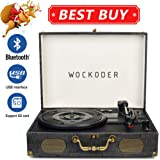Wockoder Classic Suitcase 3-Speed Record Vinyl Turntable Player with Built in stereo speakers, Vintage Style Vinyl Record Player
