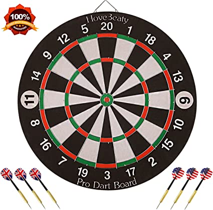 """Dart Board 15/"""" Double-sided Home Indoor Game 6 Brass Darts for Bar Pub Toys"""