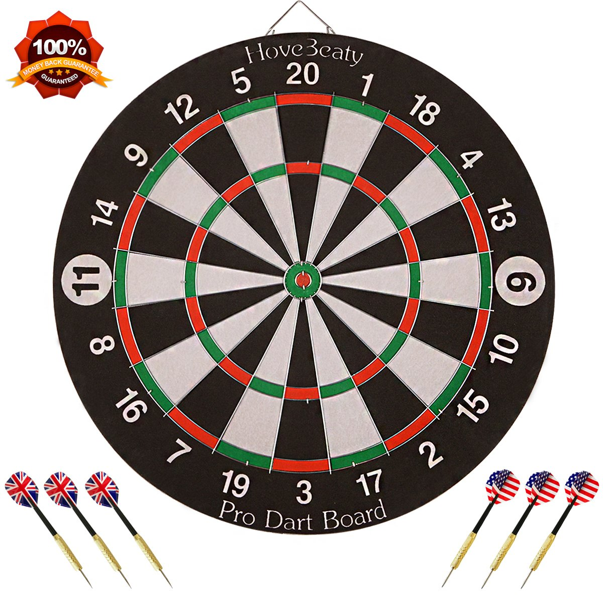 HoveBeaty Dart Board, Dart Game Set with 6 Metal Darts and Double-Sided Flocking Dartboard (18 Inches) by HoveBeaty
