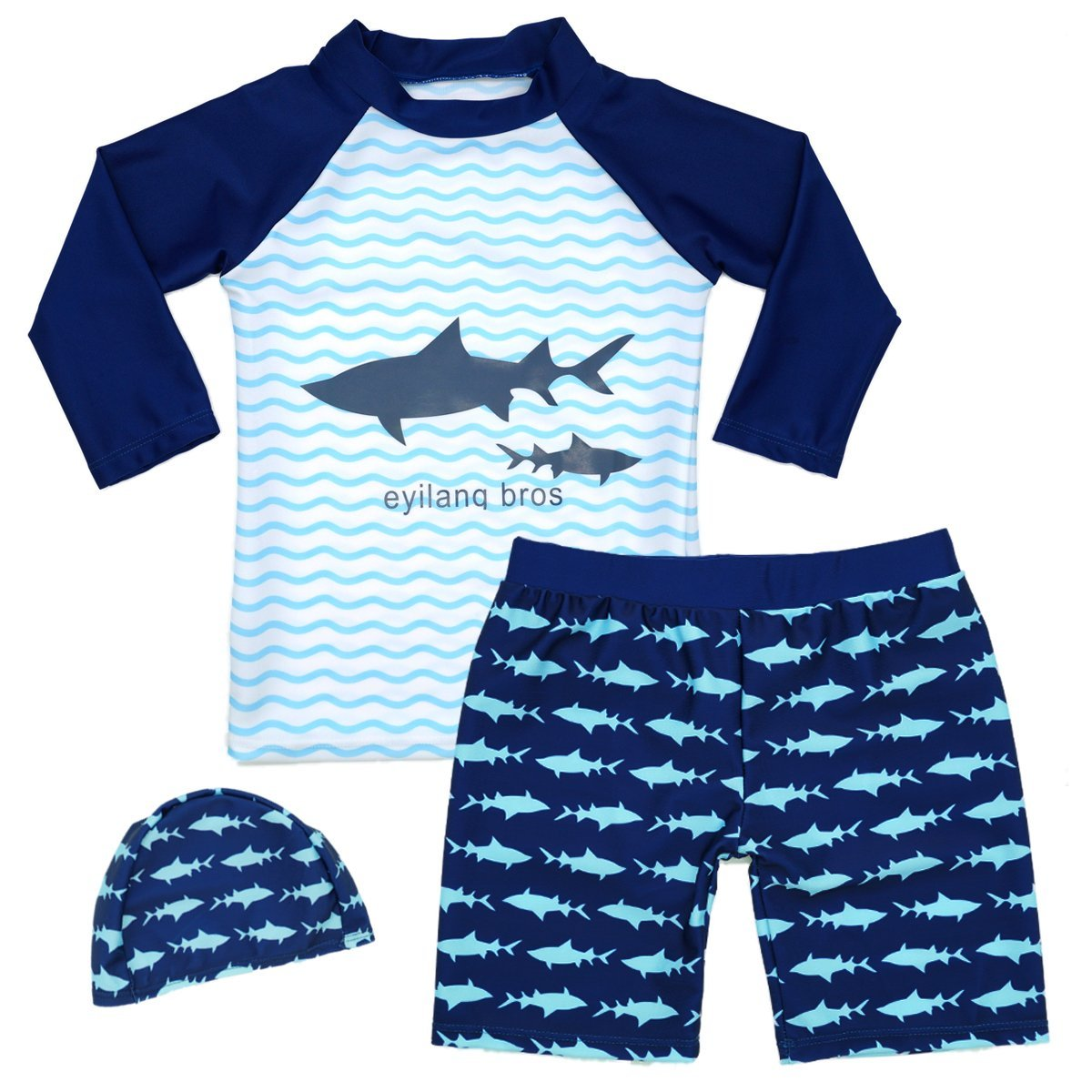Boys Two Piece Rash Guard Swimsuits Kids Short Sleeve Sunsuit Swimwear Sets UPF 50+