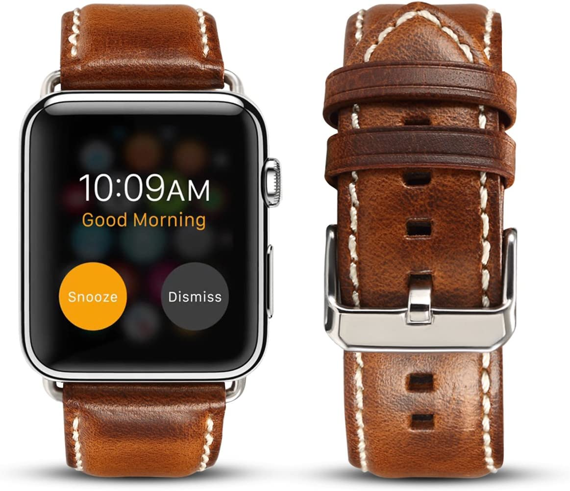 DaGeLon Compatible with Apple Watch Genuine Leather Band 42mm 44mm Series 5 Series 4 Series 3 2 1, High-End Retro Strap Sturdy Vintage Replacement Wristband for iWatch Sport Edition Nike+, Brown