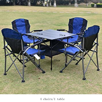Chaise Pliante QFFL Portable Table Combinaison Cinq Pieces Camping Plein Air Barbecue Haut Dossier