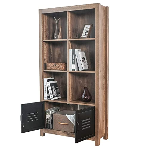 BAHOM Bookcase Storage Shelves, Retro Bookshelf with Doors, 4-Tier Cabinet for Books, Photos and Decorations