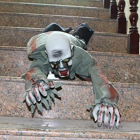 Fenteer Sonore et Lumineux Zombie Chauve Rampant Electrique D/écoration Effrayante Maison Bar F/ête Halloween