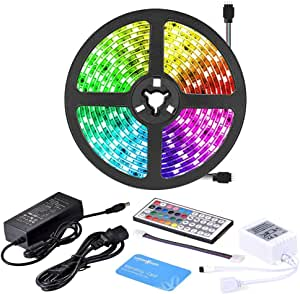 LUMINOSUM LED Strip Lights RGB Kit, 5M (16.4ft) 300LEDs SMD5050 Waterproof, with 44-Key IR Controller and DC12V 5A Power Adapter (RGB)